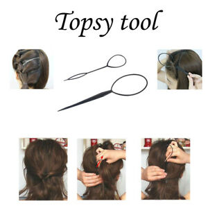 2pcs Black Topsy Tail Hair Braid Ponytail Maker Styling Tool  Women Accessories