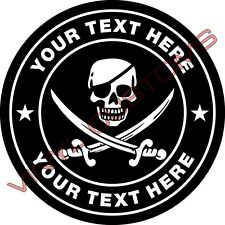 """3"""" Your Text Here Vinyl Decal Sticker Skull Crossbones"""