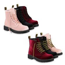 Damen Stiefeletten Outdoor Schuhe Worker Boots Samt Optik Profil 819473