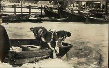 Volendam Holland Fishing Men & Woman Real Photo Postcard