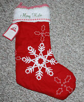 Pottery Barn Kids Christmas Stocking Quilted Red White Snowflake MARY KATE NWT