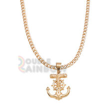 P37 Mens Stainless Steel Gold Silver Anchor Jesus Cross Pendant Chain Necklace