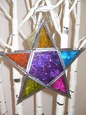 COLOUR STAR SHAPED GLASS MOROCCAN TEA LIGHT HOLDER HANGING LANTERN GARDEN INDOOR