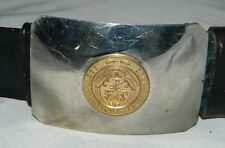 VTG Connecticut State College Military ROTC Belt Brass Stainless Buckle Size 32