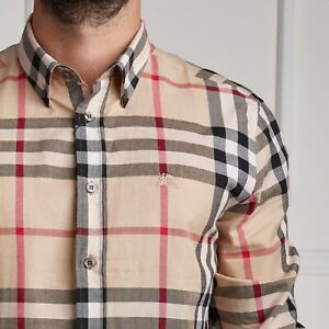 Brand New Men's Burberry Shirt Casual CHECKED Beige Brand Size L Cotton GENUINE