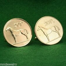 Irish Coin Cufflinks, Horse 20 Pence Ireland Gold Brass