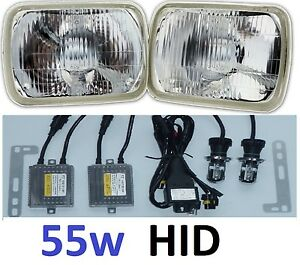 1pr 5x7 6x8 200x142 Semi Sealed H4 Hi/Lo Lights Headlights with premium 55w HID