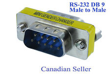 RS232 DB9 Serial Mini Gender Changer Coupler, Male to Male