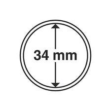 Capsules rondes 34mm, pour médailles tourstiques. Paquet de 10.
