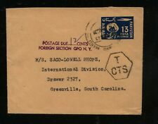 Pakistan air  mail  envelope  to  US  postage due     KL1208