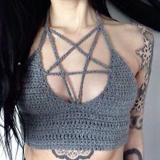 Pentagram Crochet gothique Crop Vest Halter haut Cami Bralet Festival Bikini Black