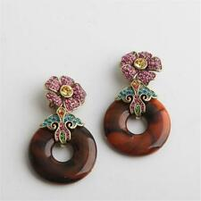 Heidi Daus Crystal Enamel Floral Drop Earrings Pink