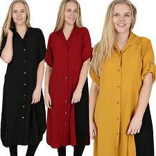 Ladies PLUS SIZES Midi Shirt Split Side Collar Party Abaya Maxi Dress S - XXXXL