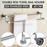 Double Rod Wall Mounted Stainless Steel Towel Rail Holder Chrome Bathroo