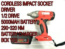 CORDLESS IMPACT SOCKET DRIVER WRENCH 1/2 LUGNUTS FAST CHARGER automotive car