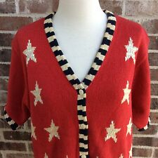 QUACKER FACTORY Star Flag Stripe Sweater Patriotic Button Front Cardigan L Bling