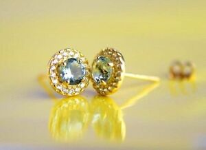 14K Solid Yellow Gold Halo Stud Push Back Earrings *