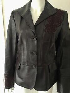 Original Ellen Tracy Brown Leather Jacket / Suede Accents Sz 10
