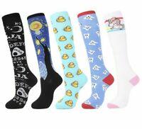 Cotton Knee High Socks Women Long Colorful Funny Cute Cartoon Gift Top Unicorn