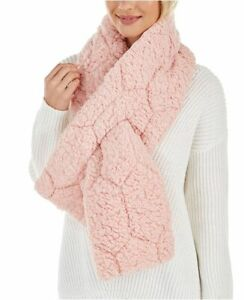 INC quilted teddy faux-fur reversible puffer women's scarf muffler - PINK/BLUSH