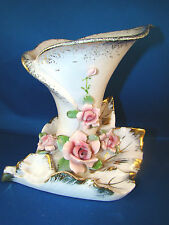 Lefton Vase Porcelain China Calla Lily Pink Roses Gold Accents Rare #8