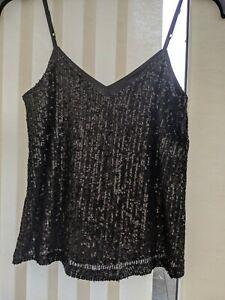 Women's New Look Cami Vest Top~Black Sparkling Sequins~Size 10