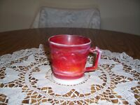 IMPERIAL RED SLAG GLASS MUG WITH BIRDS