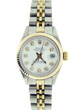 Ladies Rolex Datejust 14K Gold & Stainless Steel Watch White Diamond Dial 6917