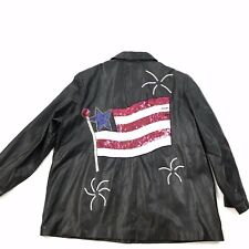 The Quacker Factory 3X Women Plus Size Leather Jacket Coat Black Beaded USA Flag
