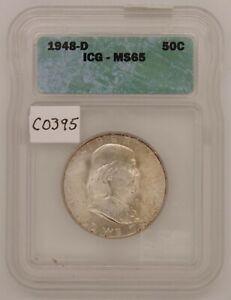 1948 D Franklin Half Silver Dollar, ICG MS65 , Gem Uncirculated, c395