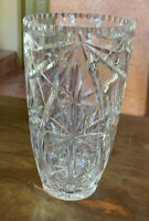 Vintage American Brilliant ABP Deco Scalloped Crystal Vase