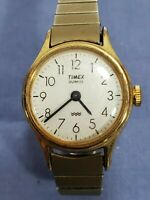 Vintage Ladies TIMEX Quartz Easy Read Gold Tone Watch, New Battery.