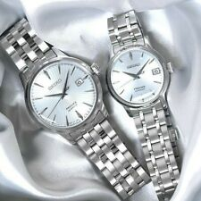 Seiko JAPAN Made Presage Cocktail Sky Diving Couple's Stainless Steel Watch Set
