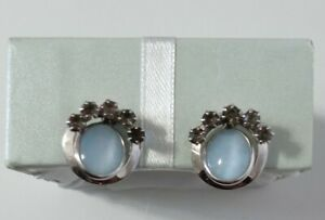 Vintage Charles Reis CR CO Moonstone & Smoky Quartz Earrings12K GF Screwback