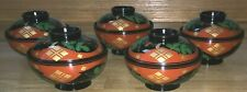 Set of 5 Japanese Wooden Lacquerware Floral Chrysanthemum Soup Bowls and Lids