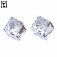 NEW Fashion Men's Women's Icy Crystal 3D Cube Push Back Post Earrings Clear