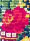 Vintage Needlepoint w/Wool Tapestry - Wall Hanging - Spring Flower Easter Basket