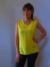 Vintage retro true 80s unused 12 S M yellow cotton tunic top linen blend