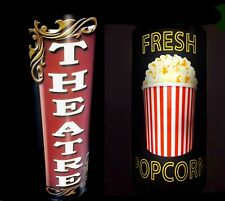 """17""""LED LIGHTED 3D CURVED THEATRE SIGN &POPCORN SIGNS  LOT OF 2"""