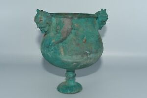 Ancient Greek Hellenistic Bronze Chalice Cup with 2 Mystical Creatures Ca 400 BC