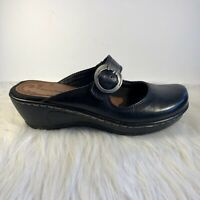 Bare Traps Womens Black Leather Mary Jane Wedge Heel Platform Mules Size 7.5 M