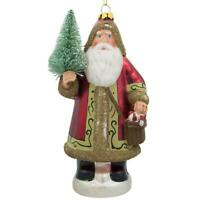 Santa Delivering Fir Tree Glass Christmas Ornament 6 Inches