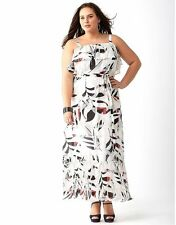 e592c767b42 Lane Bryant 20 Pleated Ruffled Maxi Dress Pink White Black   Gray 20w 1x 2x