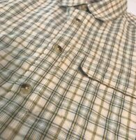The North Face Mens Shirt Medium Short Sleeve Button Green Plaid Zipper Pocket