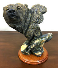 Resin Brown Grizzly Bear Head Bust, 7.5 inch tall