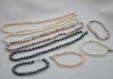 "wholesale 4 sets 7-8mm fresh water pearl Necklace & Bracelet 18"" 7.5"""