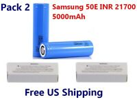 2 x Samsung 50E INR 21700 5000mAh Lithium Li-Ion rechargeable batteries w/ BOX