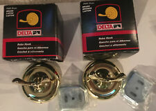 New listing Delta 7600 Series Robe Hooks Brass Set Of 2 With Mounting Plates 76025Pb