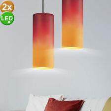 2x LED lampes à suspension en verre plafond salon lampes suspendues rouge orange