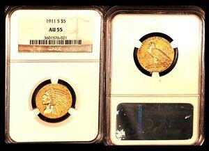 1911-S $5 NGC AU 55 - Half Eagle
